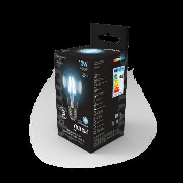 Филаментная светодиодная лампа Gauss 102802210 груша E27 10W, 4100K (холодный) CRI>90 185-265V, гарантия 3 года - миниатюра 7