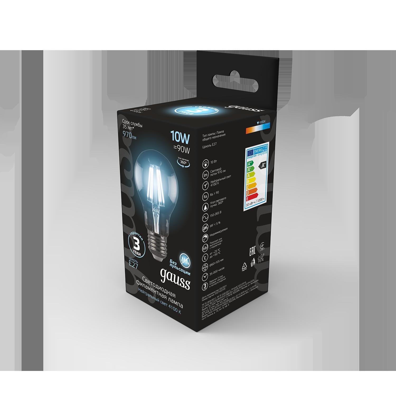 Филаментная светодиодная лампа Gauss 102802210 груша E27 10W, 4100K (холодный) CRI>90 185-265V, гарантия 3 года - фото 7