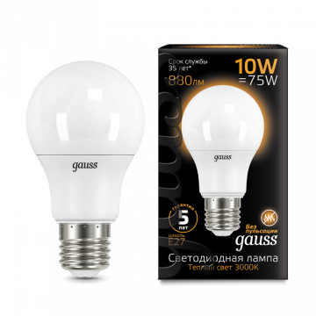 Светодиодная лампа Gauss 102502110 груша E27 10W, 3000K (теплый) CRI>90 180-240V, гарантия 5 лет
