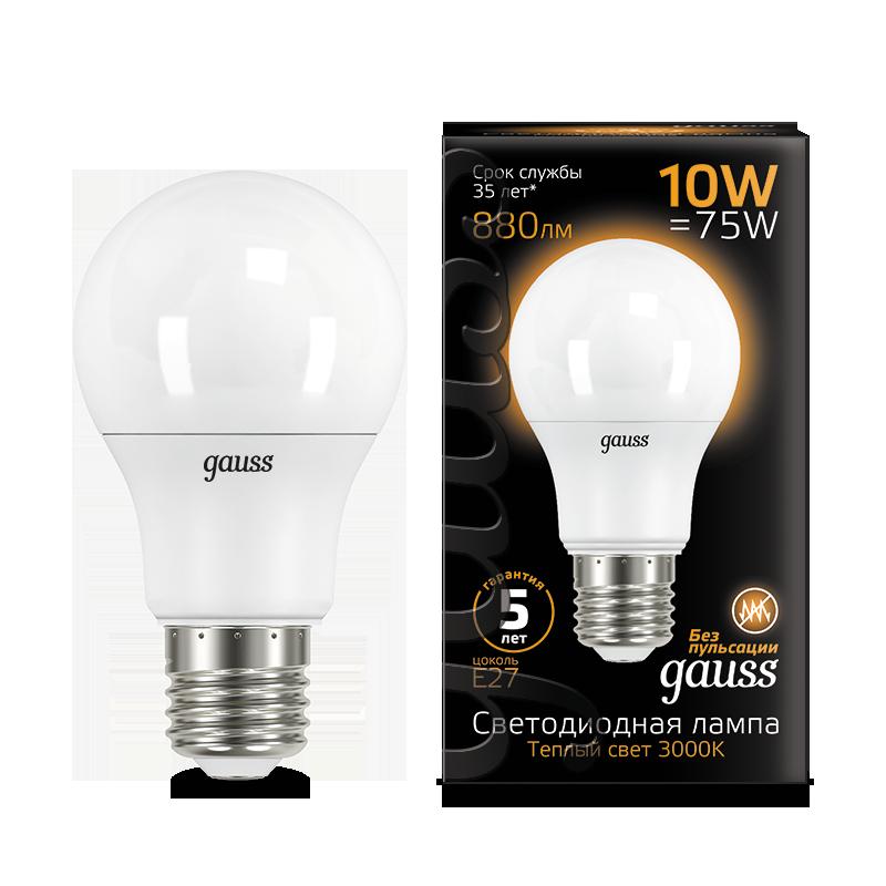 Светодиодная лампа Gauss 102502110 груша E27 10W, 3000K (теплый) CRI>90 180-240V, гарантия 5 лет - фото 1