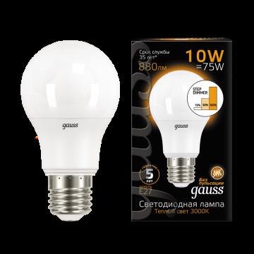 Светодиодная лампа Gauss 102502110 груша E27 10W, 3000K (теплый) CRI>90 180-240V, гарантия 5 лет - миниатюра 2