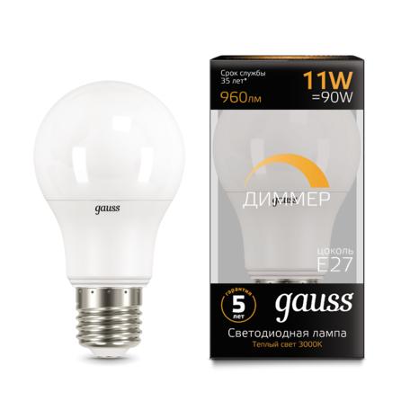 Светодиодная лампа Gauss 102502111-D груша E27 11W, 3000K (теплый) CRI>90 150-265V, диммируемая, гарантия 5 лет