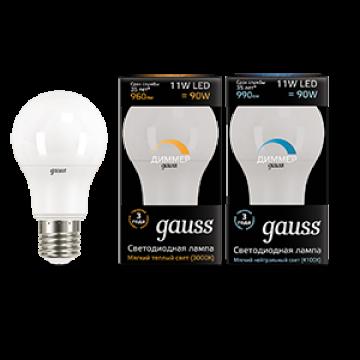 Светодиодная лампа Gauss 102502111-D груша E27 11W, 3000K (теплый) CRI>90 150-265V, диммируемая, гарантия 5 лет - миниатюра 2