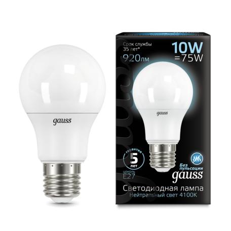 Светодиодная лампа Gauss 102502210 груша E27 10W, 4100K (холодный) CRI>90 150-265V, гарантия 5 лет
