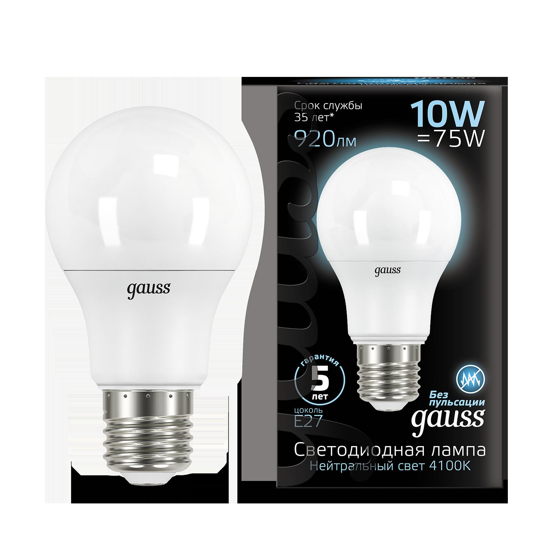 Светодиодная лампа Gauss 102502210 груша E27 10W, 4100K (холодный) CRI>90 150-265V, гарантия 5 лет - фото 1