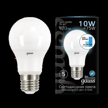 Светодиодная лампа Gauss 102502210 груша E27 10W, 4100K (холодный) CRI>90 150-265V, гарантия 5 лет - миниатюра 2
