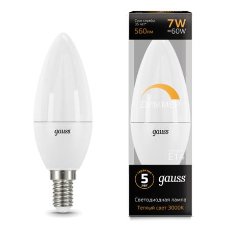 Светодиодная лампа Gauss 103101107-D свеча E14 7W, 3000K (теплый) CRI>90 150-265V, диммируемая, гарантия 5 лет
