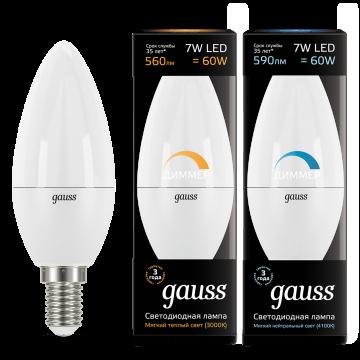 Светодиодная лампа Gauss 103101107-D свеча E14 7W, 3000K (теплый) CRI>90 150-265V, диммируемая, гарантия 5 лет - миниатюра 2