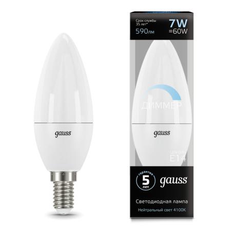 Светодиодная лампа Gauss 103101207-D свеча E14 7W, 4100K (холодный) CRI>90 150-265V, диммируемая, гарантия 5 лет