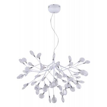 Подвесная люстра Crystal Lux EVITA SP63 WHITE/TRANSPARENT 1691/263, 63xG4x1W, белый, прозрачный, металл, стекло