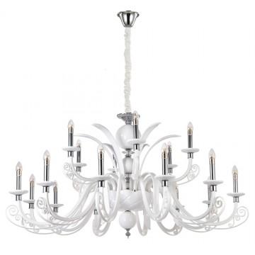 Подвесная люстра Crystal Lux LETISIA SP12+6 WHITE 2180/318, хром, металл