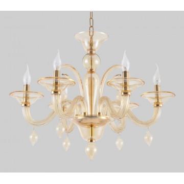 Потолочно-подвесная люстра Crystal Lux CAETANO SP-PL6 AMBER 1292/306, 6xE14x60W, хром, дымчатый, стекло