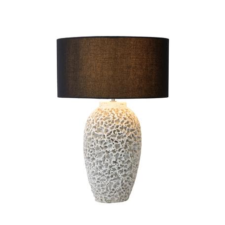 Настольная лампа Lucide Reef 34536/81/31, 1xE27x60W, белый, черный, бетон, текстиль