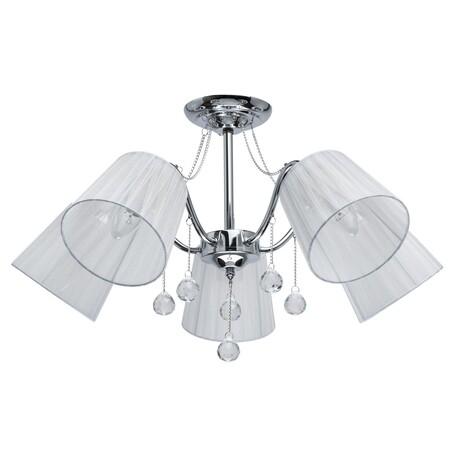 Потолочная люстра De City Лацио 103012605, 5xE27x60W, хром, белый, прозрачный, металл, текстиль, хрусталь