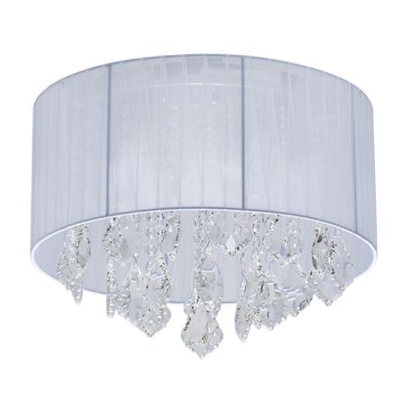 Потолочная люстра MW-Light Жаклин 465015904, 4xE14x40W, хром, белый, прозрачный, металл, текстиль, хрусталь