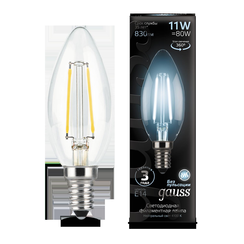 Филаментная светодиодная лампа Gauss 103801211 свеча E14 11W, 4100K (холодный) CRI>90 150-265V, гарантия 3 года - фото 1