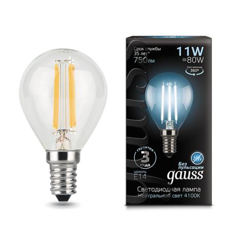 Филаментная светодиодная лампа Gauss 105801211 шар E14 11W, 4100K (холодный) 150-265V