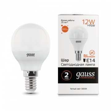 Светодиодная лампа Gauss Elementary 53112 шар E14 12W, 3000K (теплый) 180-240V