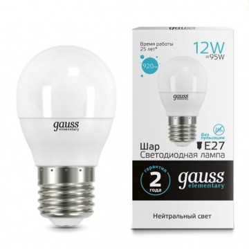 Светодиодная лампа Gauss Elementary 53222 шар E27 12W, 4100K (холодный) 180-240V