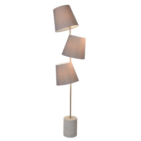 Торшер Lucide Arjan 34732/03/41, 3xE14x40W, серый, хром, бетон, текстиль