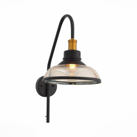 Бра ST Luce Corati SL263.401.01, 1xE27x60W, черный, прозрачный, металл, стекло