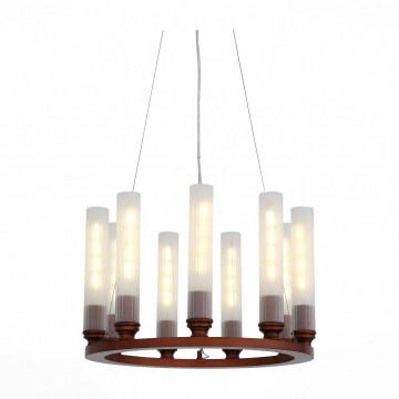 Подвесная люстра ST Luce Unica SL262.703.09, 9xE27x4W, коричневый, белый, металл, ковка, стекло