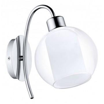 Бра Eglo Bolsano 32361, 1xE27x60W, хром, белый, прозрачный, металл, стекло