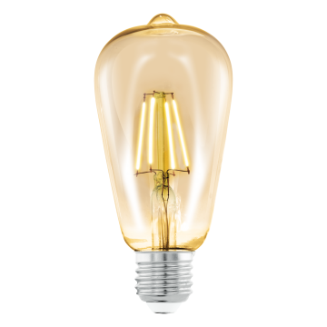 Филаментная светодиодная лампа Eglo 11521 прямосторонняя груша E27 4W, 2200K (теплый) CRI>80, гарантия 5 лет