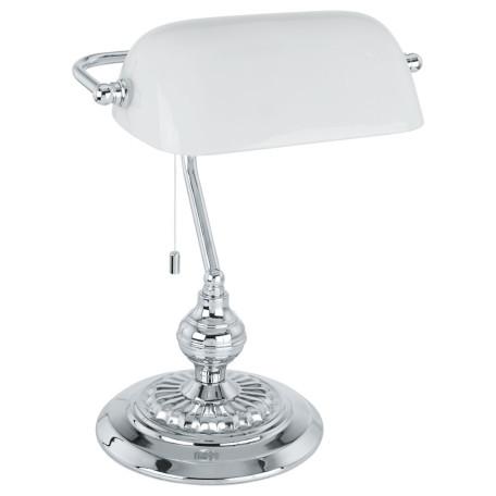 Настольная лампа Eglo Banker 90968, 1xE27x60W, хром, белый, металл, стекло