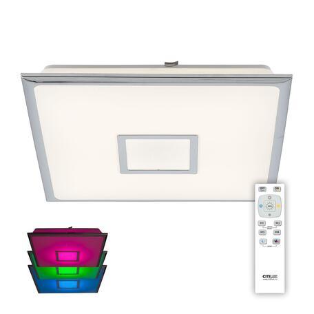 Потолочный светодиодный светильник с пультом ДУ Citilux Старлайт CL703K50RGB, LED 50W 3000-4500K + RGB 3500lm, белый, хром, пластик