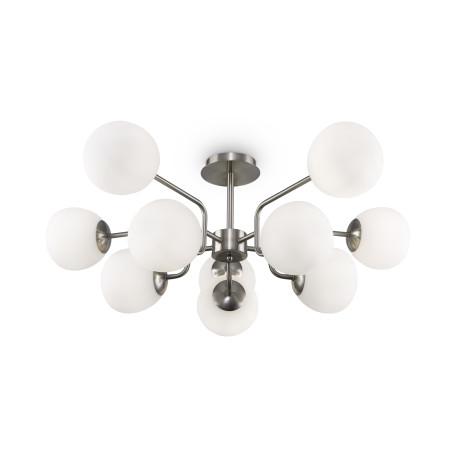 Светильник Maytoni Erich MOD221PL-10N, 10xE14x40W, никель, белый, металл, стекло