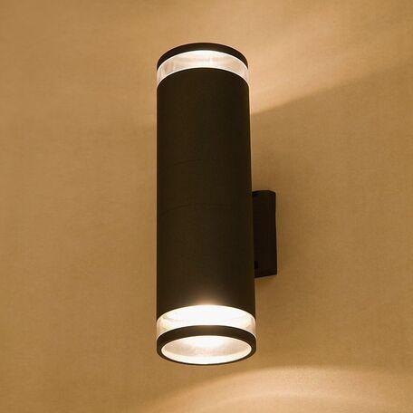 Настенный светильник Nowodvorski Rock 3407, IP44, 2xE27x60W, черный, прозрачный, металл, стекло