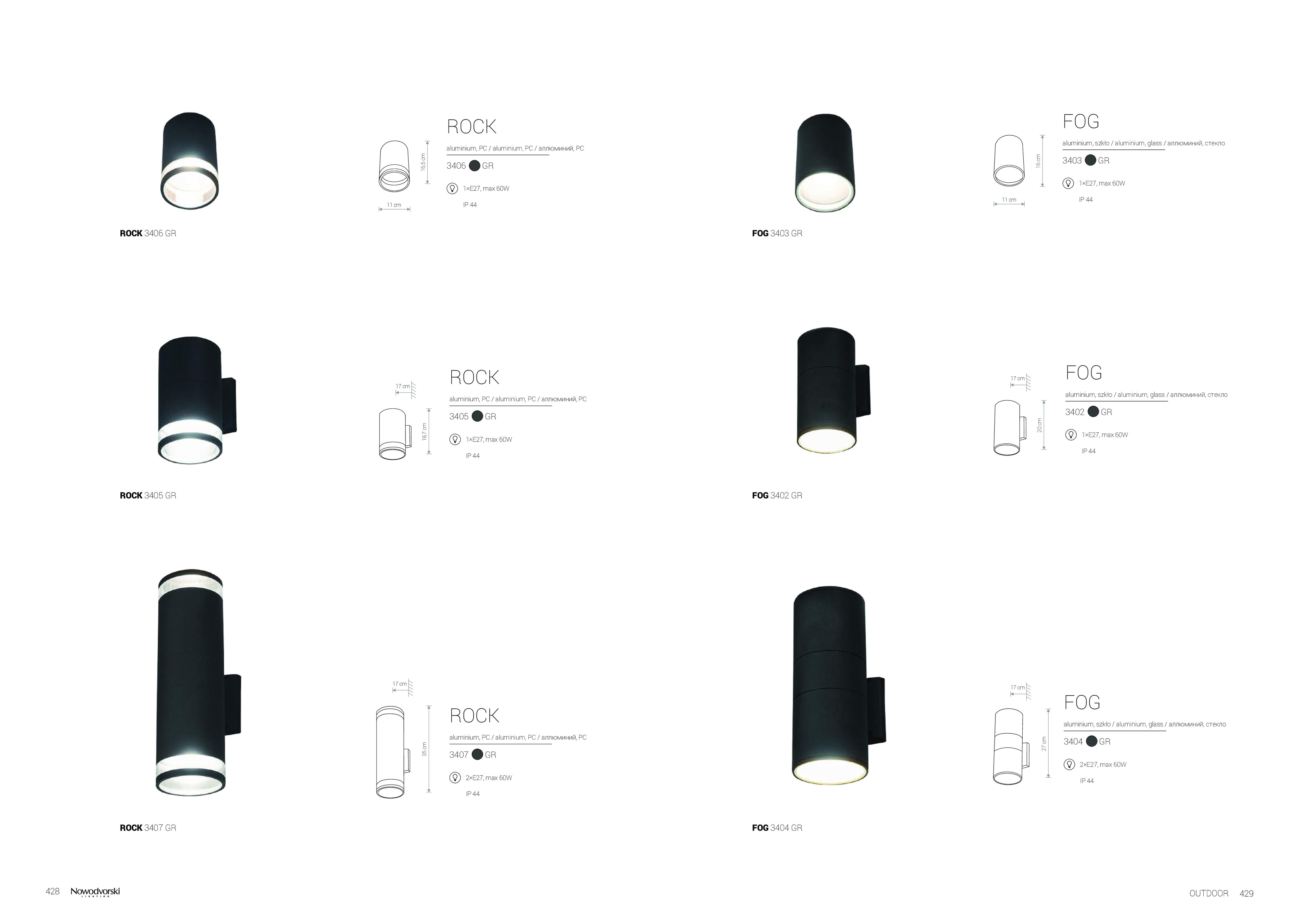 Настенный светильник Nowodvorski Rock 3407, IP44, 2xE27x60W, черный, черный с прозрачным, металл, металл со стеклом, стекло - фото 6