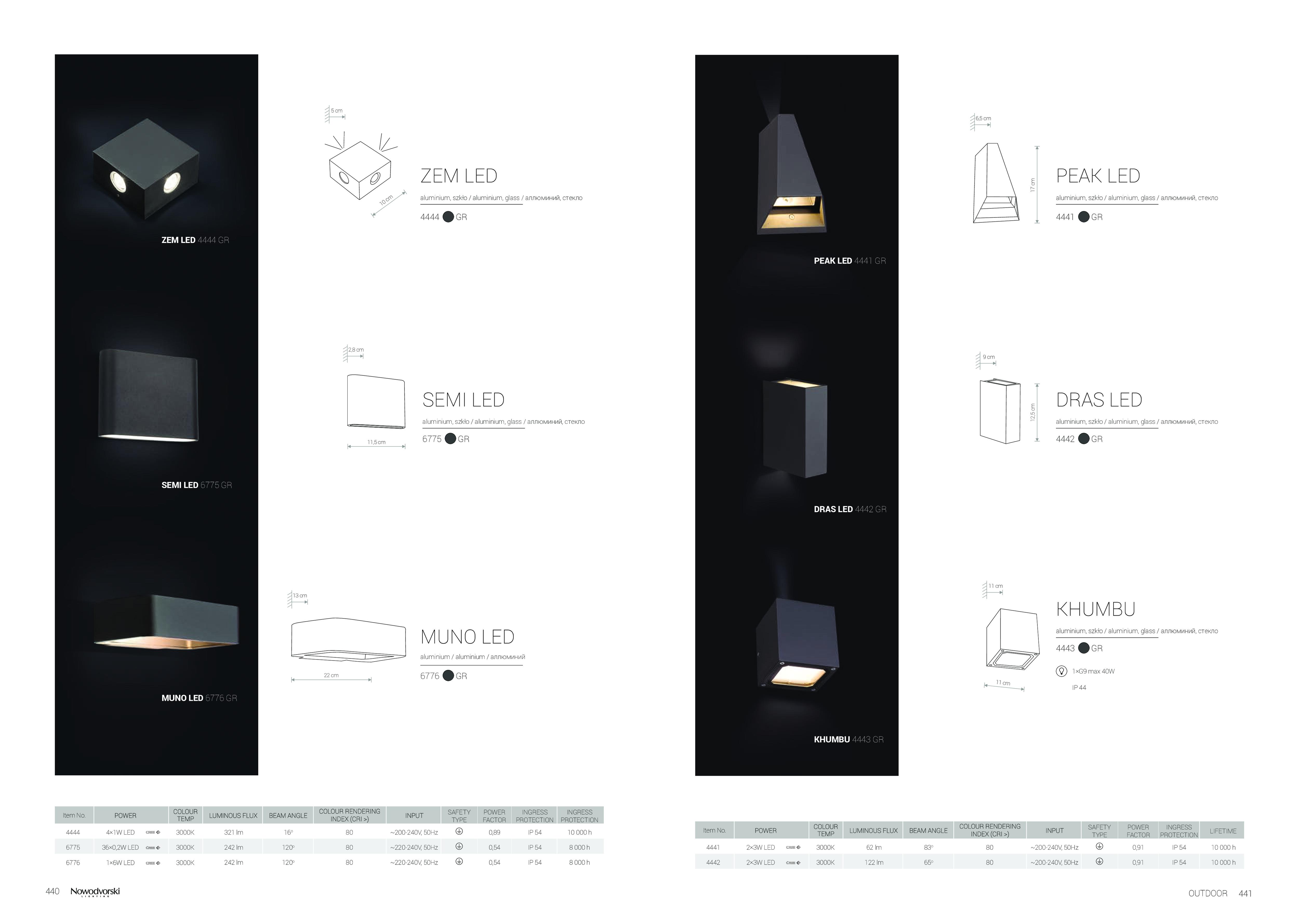 Настенный светодиодный светильник Nowodvorski Zem 4444, IP54, LED 4W 3000K 321lm, серый, металл, стекло - фото 2