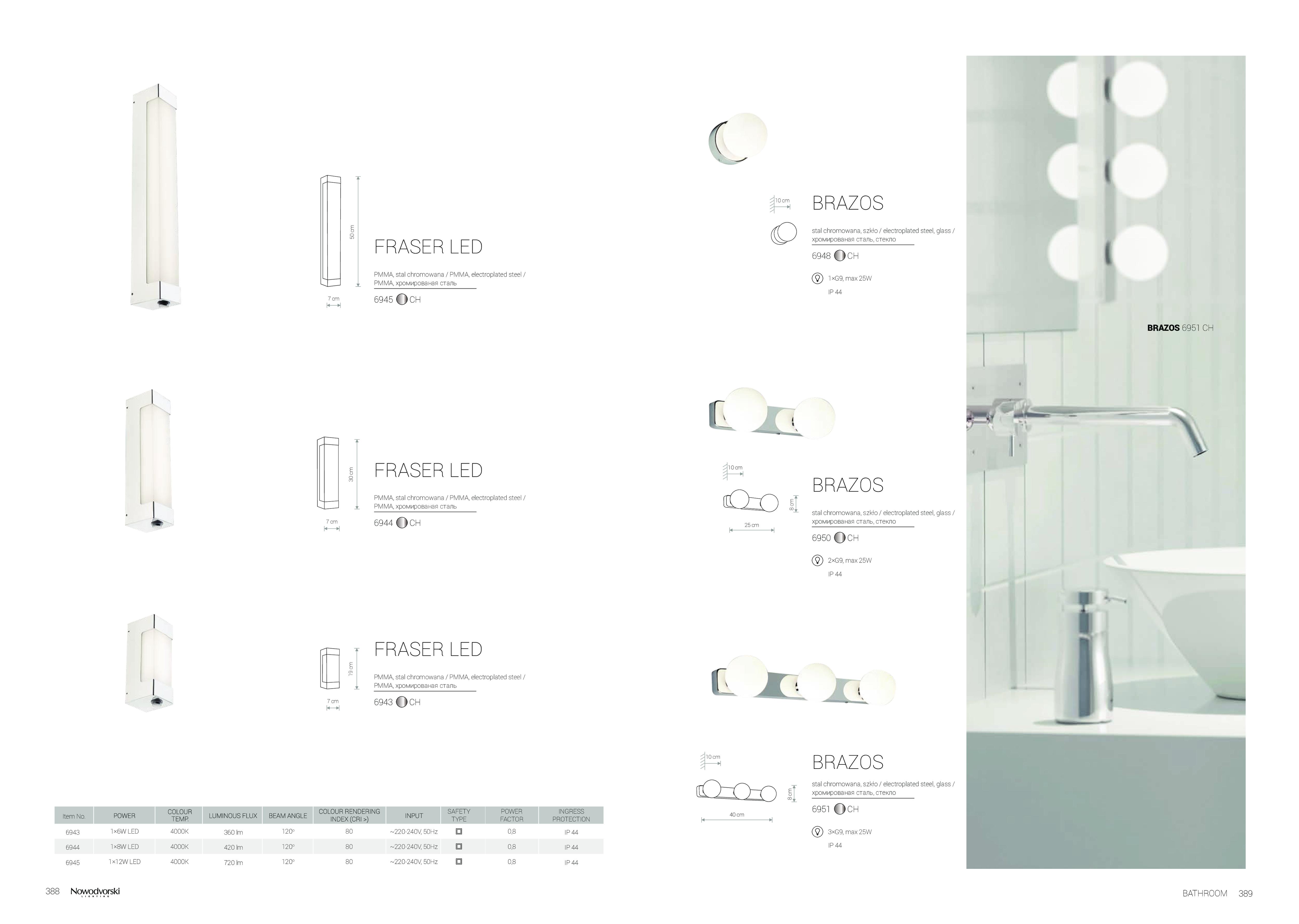 Настенный светодиодный светильник Nowodvorski Fraser 6945, IP44, LED 12W 4000K 720lm, белый, хром, металл, пластик - фото 2