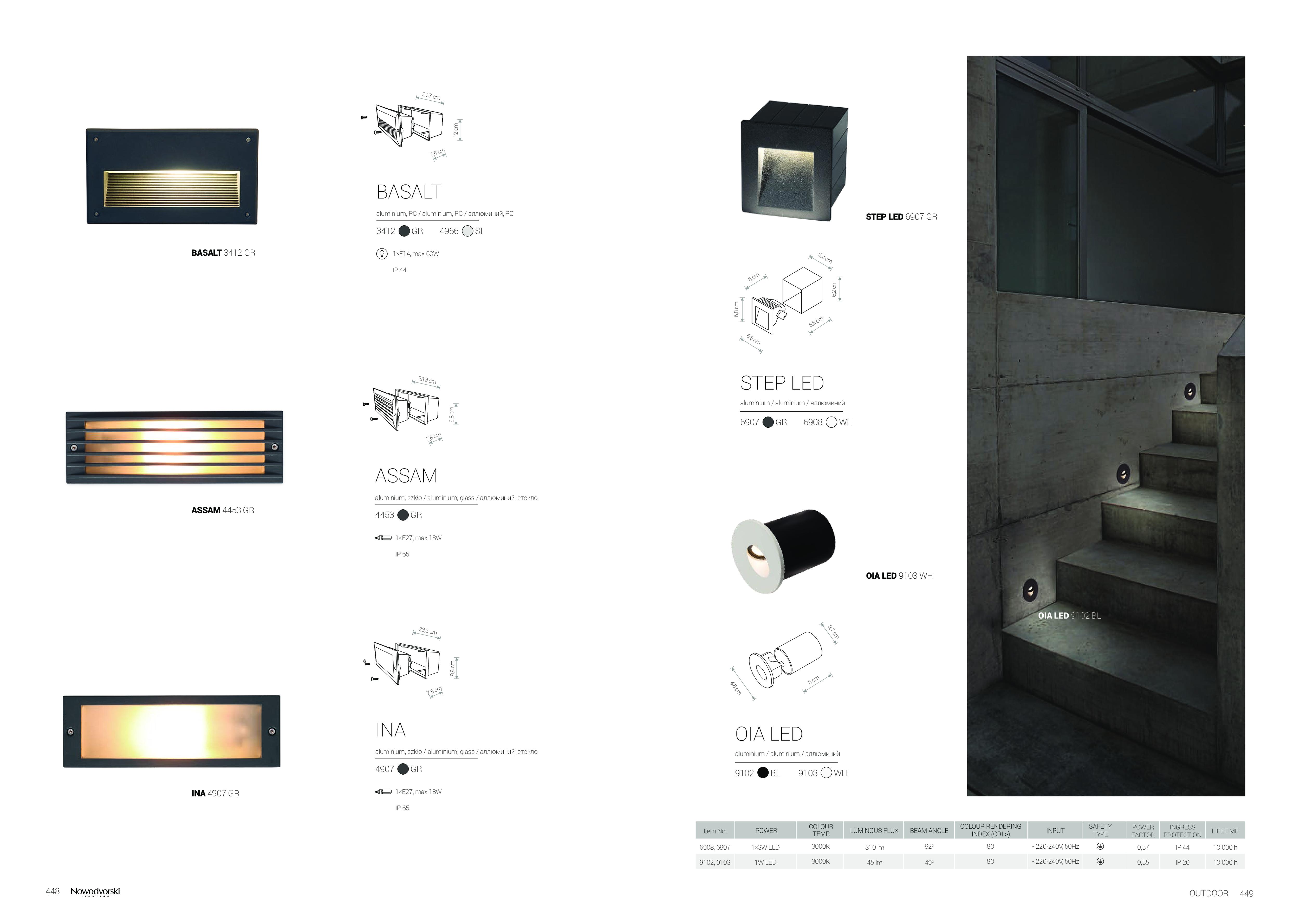 Встраиваемый настенный светодиодный светильник Nowodvorski Step 6908, IP44, LED 3W 3000K 310lm, белый, металл - фото 6