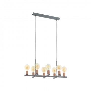 Подвесной светильник Eglo Adri 1 97449, 8xE27x60W, медь, серый, металл