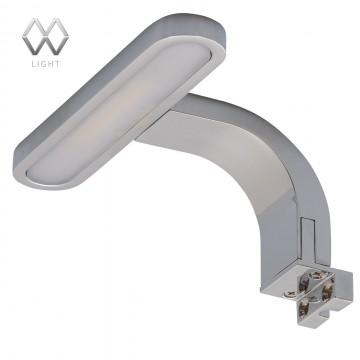 Светодиодный светильник на шкаф или зеркало De Markt Аква 509023901, IP44, LED 5W 4000K (дневной), хром, матовый, металл, пластик