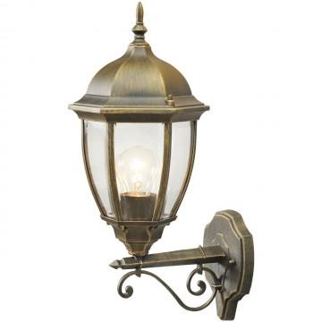 Настенный фонарь De Markt Фабур 804020101, IP44, 1xE27x95W, черный с золотой патиной, прозрачный, металл, стекло