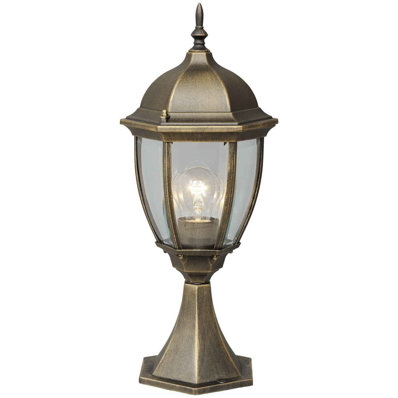 Садово-парковый светильник De Markt Фабур 804040301, IP44, 1xE27x95W, черный с золотой патиной, прозрачный, металл, стекло - фото 1
