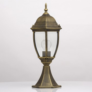 Садово-парковый светильник De Markt Фабур 804040301, IP44, 1xE27x95W, черный с золотой патиной, прозрачный, металл, стекло - миниатюра 3