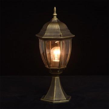 Садово-парковый светильник De Markt Фабур 804040301, IP44, 1xE27x95W, черный с золотой патиной, прозрачный, металл, стекло - миниатюра 4