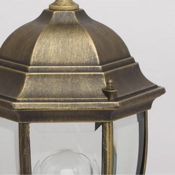 Садово-парковый светильник De Markt Фабур 804040301, IP44, 1xE27x95W, черный с золотой патиной, прозрачный, металл, стекло - миниатюра 6
