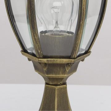 Садово-парковый светильник De Markt Фабур 804040301, IP44, 1xE27x95W, черный с золотой патиной, прозрачный, металл, стекло - миниатюра 7