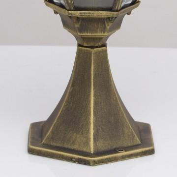 Садово-парковый светильник De Markt Фабур 804040301, IP44, 1xE27x95W, черный с золотой патиной, прозрачный, металл, стекло - миниатюра 8