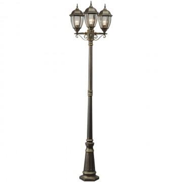 Уличный фонарь De Markt Фабур 804040703, IP44, черный с золотой патиной, прозрачный, металл, стекло