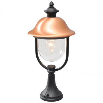 Садово-парковый светильник De Markt Дубай 805040301, IP44, черный, медь, прозрачный, металл, пластик