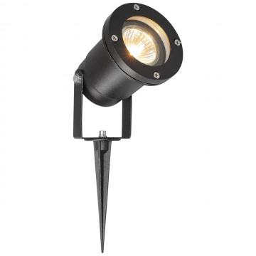 Прожектор с колышком De Markt Титан 808040201, IP65, черный, прозрачный, металл, стекло