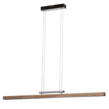 Подвесной светильник De Markt Ральф 675011501, хром, коричневый, матовый, металл, дерево, пластик