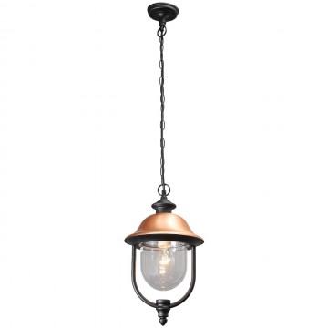 Подвесной светильник De Markt Дубай 805010401, IP44, 1xE27x95W, черный, медь, прозрачный, металл, металл с пластиком